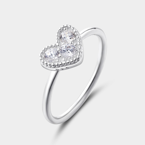 925 sterling silver cubic zirconia heart ring