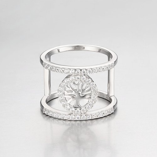 925 sterling silver cubic zirconia tree of life layered ring