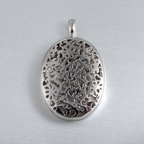 925 sterling silver one side hollow oval locket