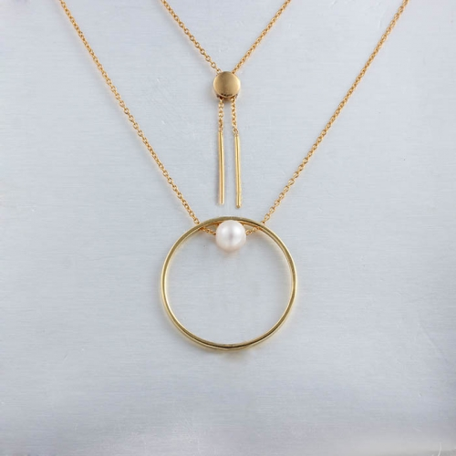 925 sterling silver pearl ring sliding necklace