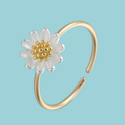 925 sterling silver minimalist daisy adjustable rings