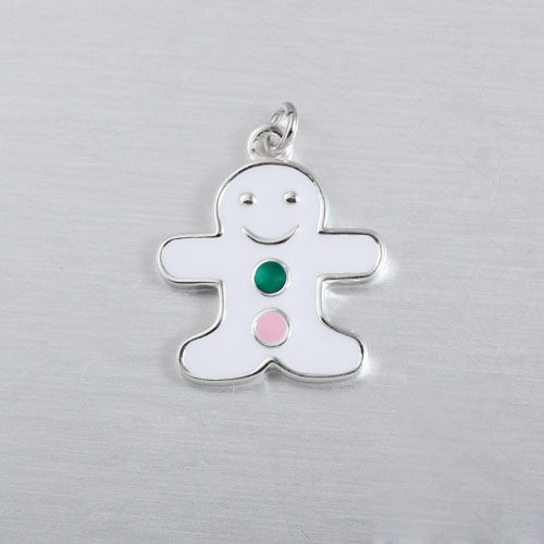 925 sterling silver enamel Gingerbread Man charms