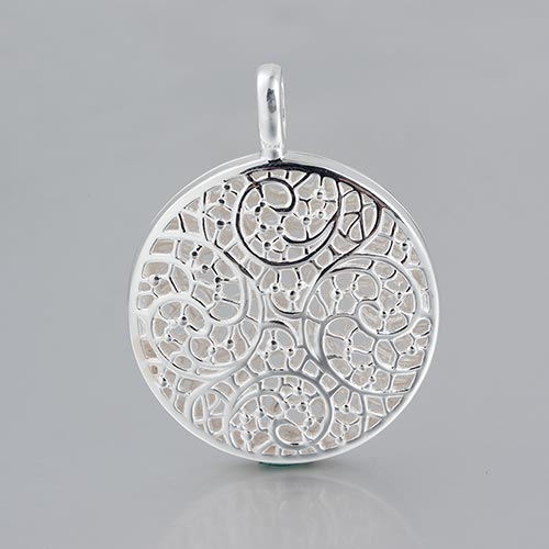 925 sterling silver filigree round locket