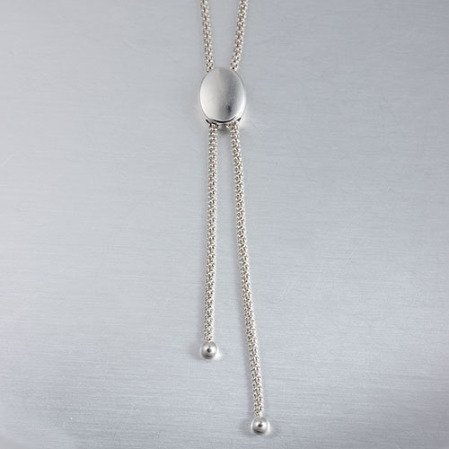 925 silver oval bead adjustable necklace,procon chain