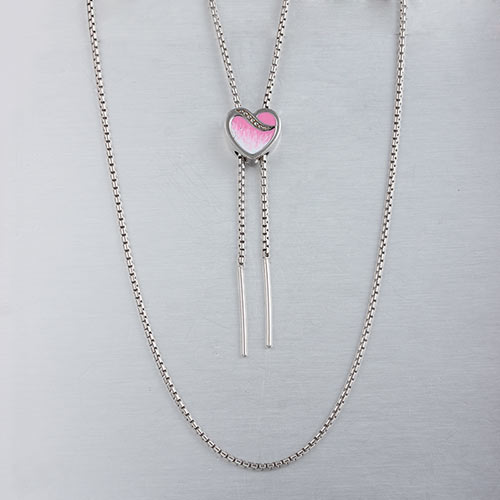 Silver slider heart necklace,enamel jewelry