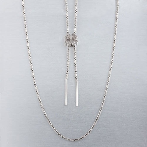 Silver adjustable cz clover sliding necklace