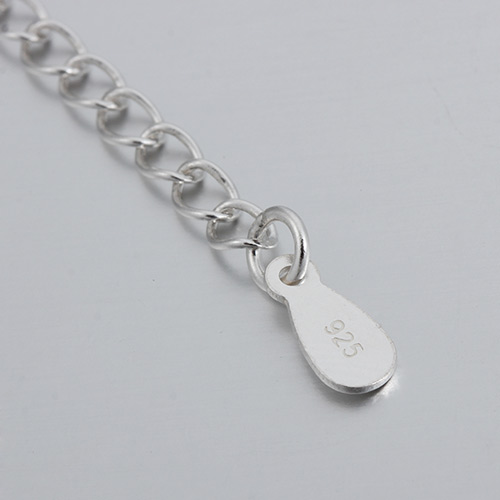 925 sterling silver extender chain with drop tag