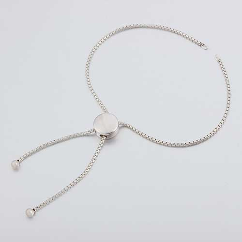 925 silver round bead box chain adjustable bracelet