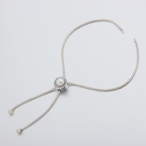925 silver pearl bead box chain adjustable bracelet