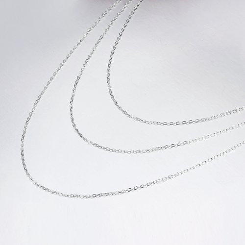 925 silver three layered 035 cable chain necklace