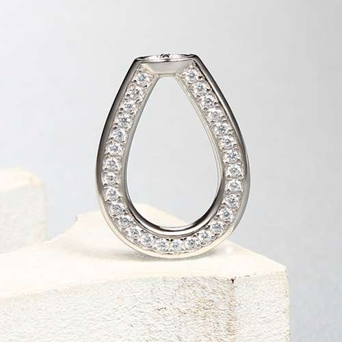925 sterling silver cz teardrop spacer