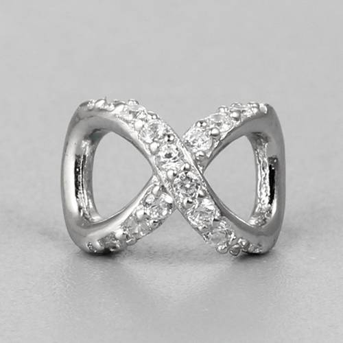 925 sterling silver cz infinity spacer