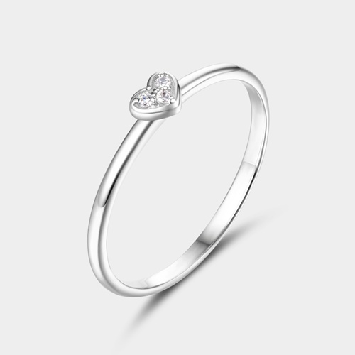 925 sterling silver cubic zirconia stone heart girls rings