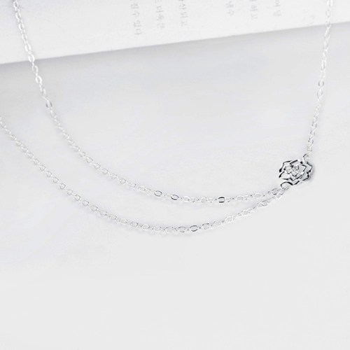 925 sterling silver flower layered necklaces