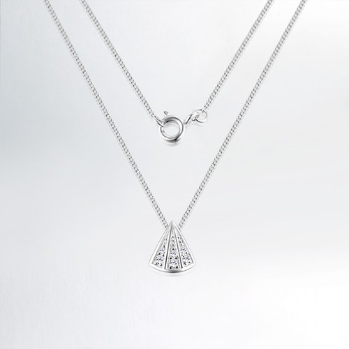 925 sterling silver cz triangle pendant necklaces