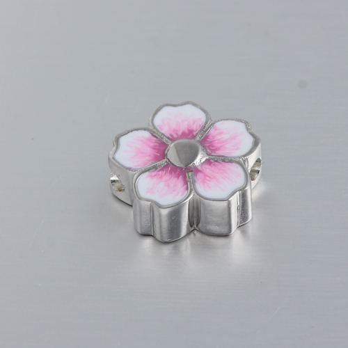 925 silver enamel flower slider bead,bigger