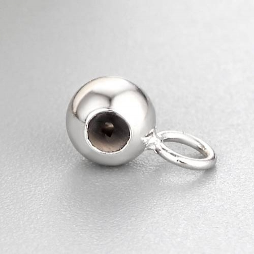 925 sterling silver 4mm silicone ball bead with jump ring