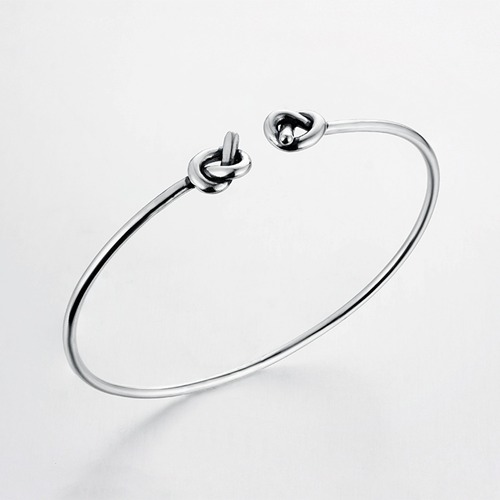925 sterling silver minimalist adjustable knot bangle