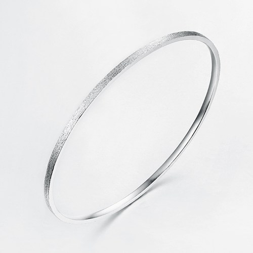 Minimalist 925 sterling silver brushed bangles jewelry