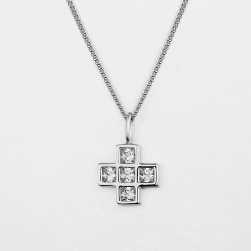 925 sterling silver cubic zirconia cross pendant necklaces