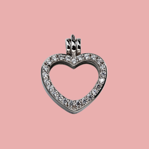 925 sterling silver cz glass heart locket
