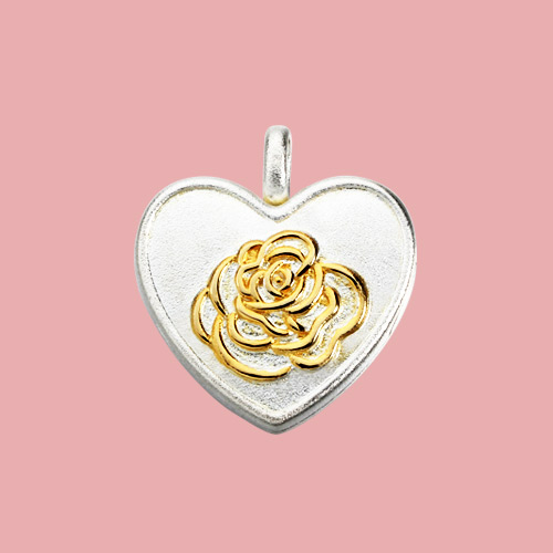 925 sterling silver two-tone rose heart locket