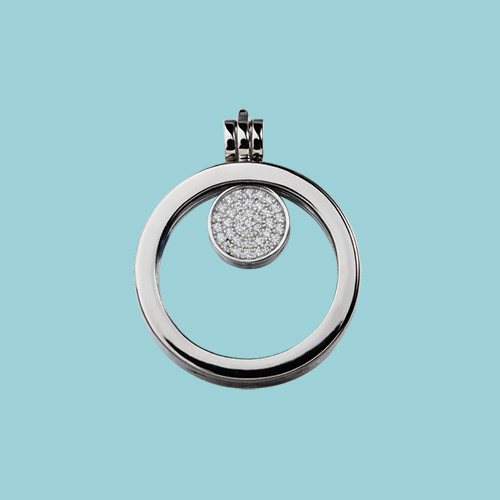 925 sterling silver cz glass floating locket