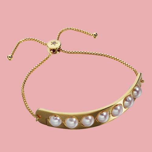 925 sterling silver pearls slider adjustable bracelet