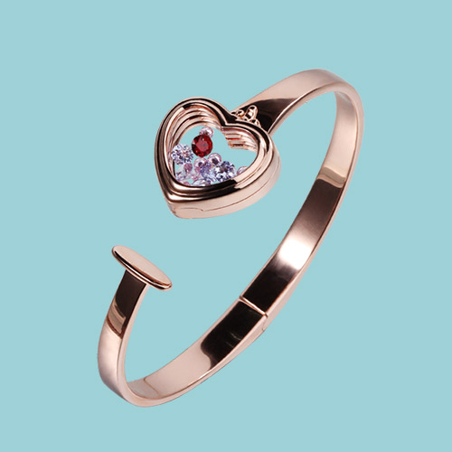925 sterling silver glass heart floating locket memory bangle