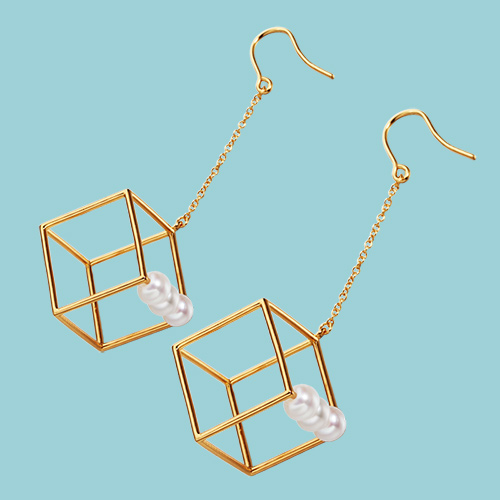925 sterling silver pearl cube drop earrings
