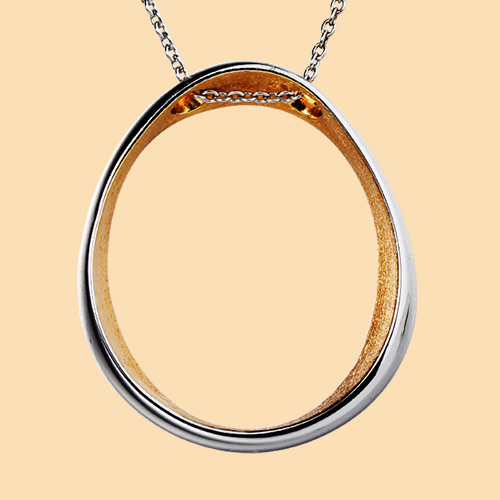 925 sterling silver two-tone burshed oval pendant