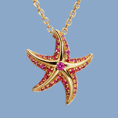 925 sterling silver cz starfish pendant