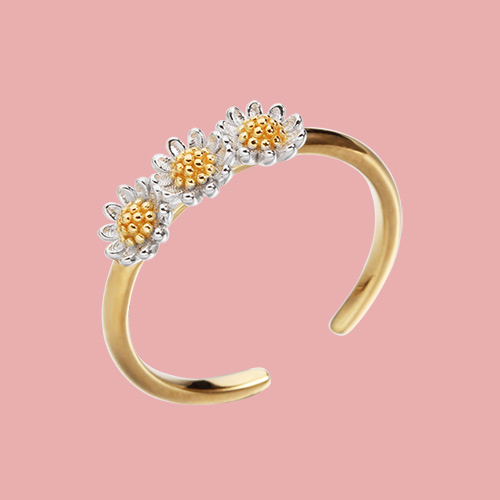Two-tone 925 sterling silver daisy open rings