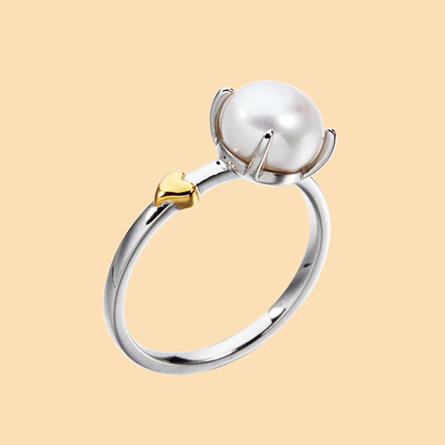 925 sterling silver pearl rings with heart