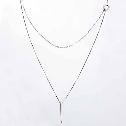 925 sterling silver cz double layered lariat necklaces