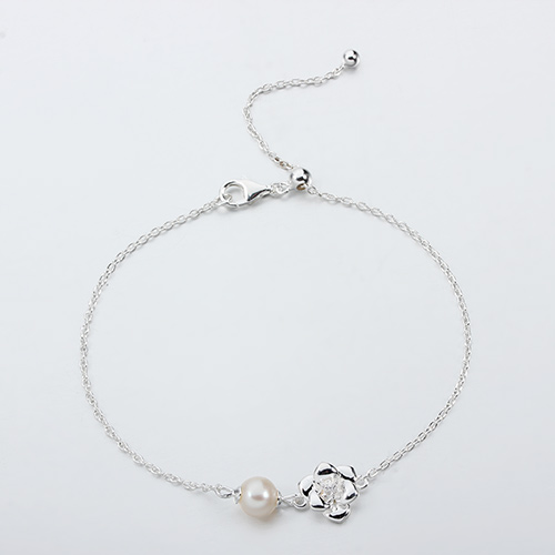 925 sterling silver gemstone pearl flower adjustable bracelet