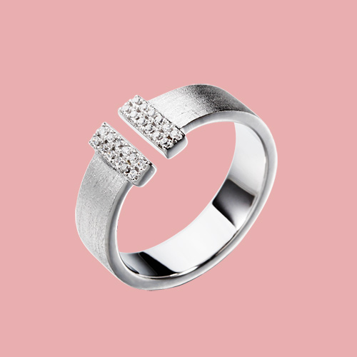 925 sterling silver t shape cz adjustable rings