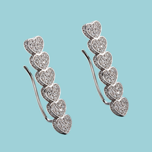 925 sterling silver cz pave hearts earrings