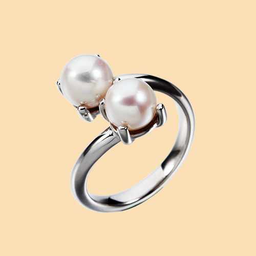 925 sterling silver double pearls rings