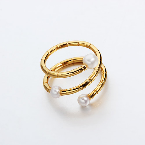 925 sterling silver pearl bamboo split rings