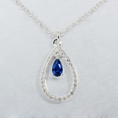 925 sterling silver gemstone teadrop necklace