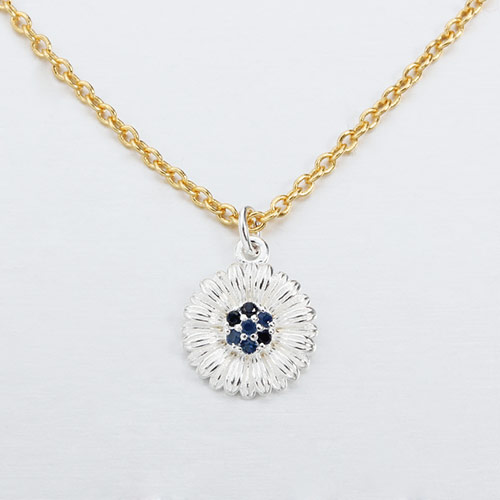 925 sterling silver gemstone flower necklace