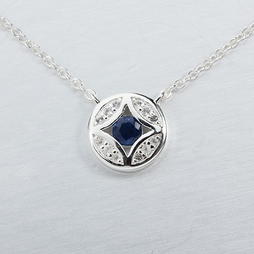 925 sterling silver gemstone round necklace