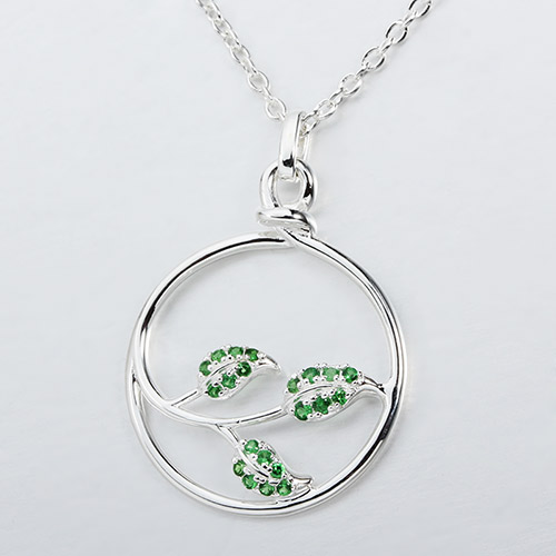 925 sterling silver gemstone leaf necklace