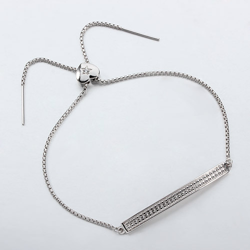 925 sterling silver rectangle heart sliding bead bracelet