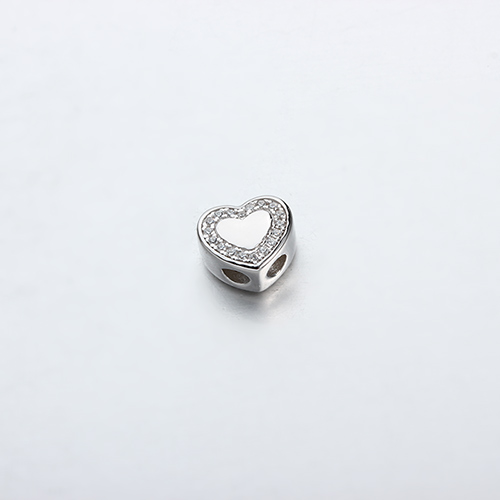 925 sterling silver cz heart slider beads