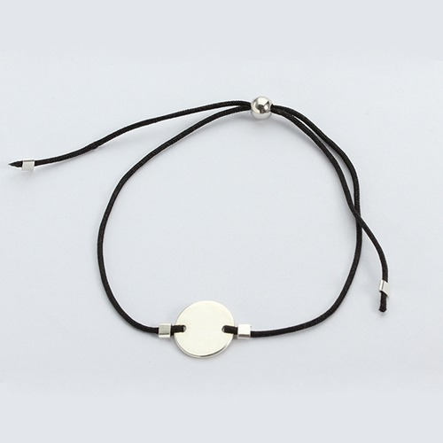 925 sterling silver id tag adjustable cord bracelet