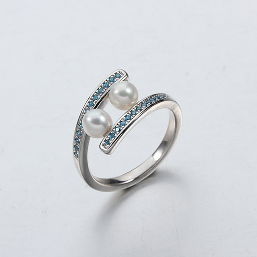 925 sterling silver pearls cz rings