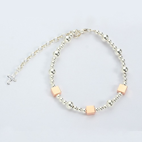 925 sterling silver two-tone baby beaded bracelet