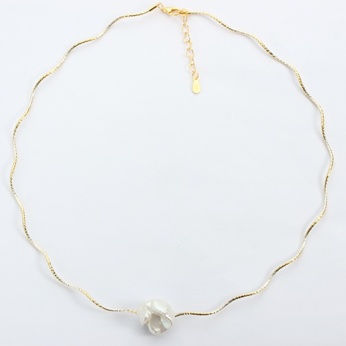 Baroque pearl sterling silver two-tone minimalist necklace
